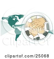 Clipart Illustration Of A Teamwork Pile Of Hands Stacked In A Circle Surrounded By Binary Coding With Waves Over A Green Map