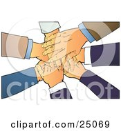 Clipart Illustration Of A Teamwork Pile Of Hands Stacked Over A White Background