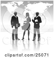 Clipart Illustration Of A Businesswoman Standing Between Two Men Discussing A Business Project In Front Of A Gray Background With A Map And Binary Coding