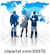 Clipart Illustration Of A Business Woman And Two Men On A Reflective Tile Floor Discussing A Business Project In Front Of A Blue Background With A Map