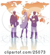 Clipart Illustration Of A Purple Business Woman And Two Men On A Reflective Tile Floor Discussing A Business Project In Front Of An Orange Background With A Map by Tonis Pan