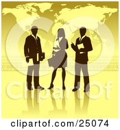 Businesswoman Standing Between Two Men Discussing A Business Project In Front Of A Yellow Background With A Map And Binary Coding