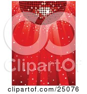 Clipart Illustration Of A Shiny Red Disco Ball Reflecting Light While Spinning Over A Red Background With Confetti