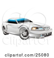 Clipart Illustration Of A White 2001 Roush Stage III Ford Mustang Car by Andy Nortnik
