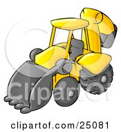 Clipart Illustration Of A Yellow Backhoe Heavy Machine Used For Construction