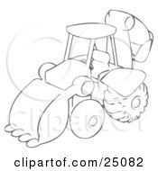 Clipart Illustration Of A Drawing Of A Backhoe Construction Machine Used For Construction by Leo Blanchette