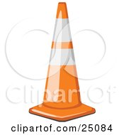 Clipart Illustration Of A Shiny Orange Traffic Cone With White Bands Resting On A Road In A Construction Zone by Leo Blanchette