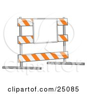Clipart Illustration Of A White And Orange Striped Road Block Type III Barricade Board With A Blank Sign In A Construction Zone