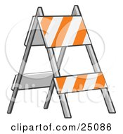 Clipart Illustration Of A White And Orange Striped Type II Barricade Sign Standing In A Road Construction Area