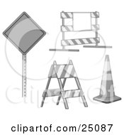 Clipart Illustration Of A Collection Of Signs Traffic Blocks And Traffic Cones In Gray Tones by Leo Blanchette