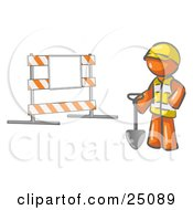 Orange Man Construction Worker In A Yellow Vest And Hardhat Holding A Shovel And Standing By A Road Block Sign