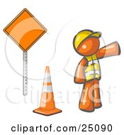 Orange Man Construction Worker Wearing A Vest And Hardhat Pointing While Standing By A Cone And Sign At A Road Work Site