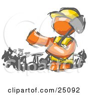 Painted Orange Man Construction Worker In A Vest And Hard Hat Digging With A Shovel While Doing Road Work