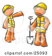 Clipart Illustration Of A Painted Orange Men In Hardhats And Vests Working With A Shovel At A Construction Site
