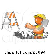 Clipart Illustration Of A Working Orange Man Wearing A Vest And Hardhat Standing In A Hole While Digging With A Shovel In A Construction Zone