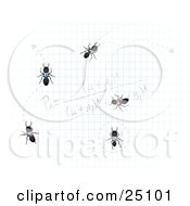 Team Of Worker Ants Crawling On Graph Paper With Calculations