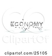 Clipart Illustration Of Worker Ants Emerging From Cracks Forming The Word ECONOMY