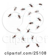 Worker Ants Over A Gid Networking With Arrows And Dots