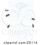 Clipart Illustration Of Worker Ants On Blue And White Graph Paper With Blueprint Drawings