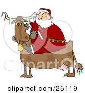 Clipart Illustration Of Santa Riding A Cow Decorated In Colorful Christmas Lights
