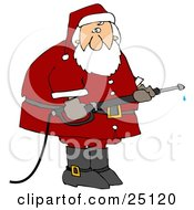 Santa In His Red Suit Operating A Power Washer Nozzle