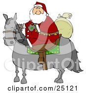 Clipart Illustration Of Santa Claus Riding On A Gray Horse His Sack Of Toys Behind Him