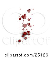 Clipart Illustration Of A Red Love Hearts Falling On A White Background
