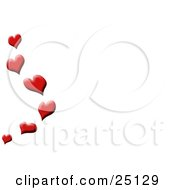 Red Love Hearts Floating Up Along The Edge Of A White Background