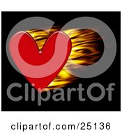 Clipart Illustration Of A Passionate Red Heart Flaming Over Black