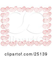 Clipart Illustration Of A Border Of Sketched Red Hearts Over White by KJ Pargeter