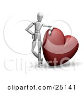White Figure Character Resting His Arm On Top Of A Big Red Heart
