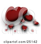 Clipart Illustration Of Different Sized Red And Pink Hearts With Shadows