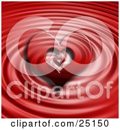 Clipart Illustration Of A Heart In A Heart Over A Red Liquid Ripple Background