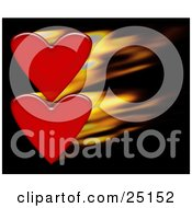 Clipart Illustration Of A Pair Of Red Hearts With Fast Flames Over A Black Background