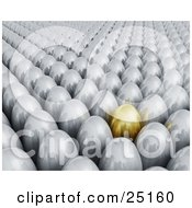 Crowd Of Silver Easter Eggs With One Gold Standing Out