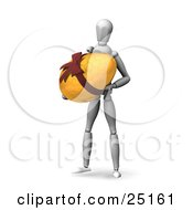 White Figure Character Carrying A Large Golden Easter Egg With A Bow