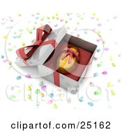 Clipart Illustration Of A Gold Easter Egg With A Honeycomb Pattern And A Red Ribbon Around It Resting In An Open Gift Box Surrounded By Candy