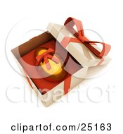 Clipart Illustration Of A Gold Easter Egg With A Red Ribbon Around It Resting In An Open Gift Box