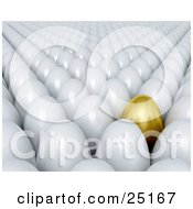 Clipart Illustration Of A Crowd Of White Eggs With One Golden One Standing Out