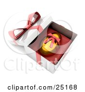 Clipart Illustration Of A Golden Easter Egg With A Red Ribbon Around It Resting In An Open Gift Box