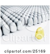Clipart Illustration Of A Golden Egg Standing In Front A Crowd Of Silver Eggs Instructing Its Followers by KJ Pargeter