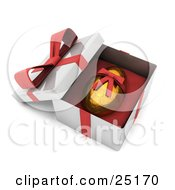 Clipart Illustration Of A Gold Easter Egg With A Honeycomb Pattern And A Red Ribbon Around It Resting In An Open Gift Box
