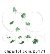 Clipart Illustration Of Green St Patricks Day Shamrock Clover Leaves Falling Down by KJ Pargeter