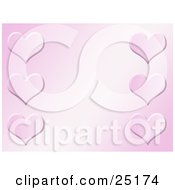 Clipart Illustration Of Six Hearts Along The Sides Of A Gradient Pink Background