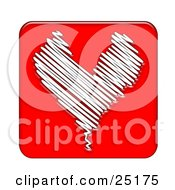 Clipart Illustration Of A Sketched White Line Heart Over A Red Background
