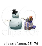 Snowman With Stick Arms A Carrot Nose And A Hat Standing With Wrapped Christmas Presents