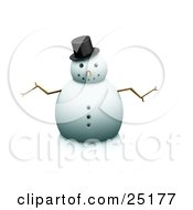 Clipart Illustration Of A Nice Snowman With Stick Arms And A Carrot Nose Wearing A Hat And Facing Front
