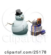 Christmas Snowman With A Carrot Nose Stick Arms And A Hat Standing By Wrapped Gifts