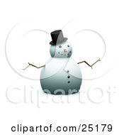 Happy Christmas Snowman With A Carrot Nose And Stick Arms Wearing A Top Hat