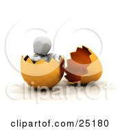 Clipart Illustration Of A Relaxed White Character Sitting In A Broken Gold Easter Egg